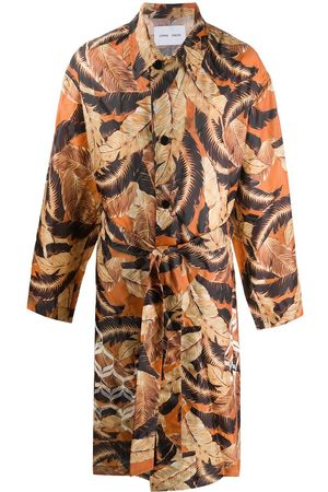CMMN SWDN Leaf-print belted trench coat