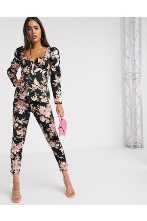 ASOS Corset detail suit co ord top in dark floral