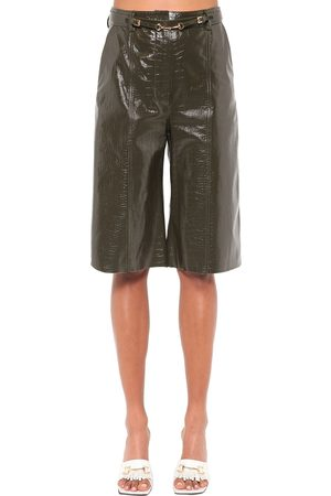 DODO BAR OR Ivgenya Croc Printed Leather Shorts