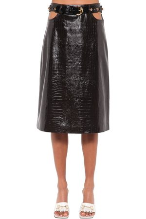 DODO BAR OR Perla Leather Midi Skirt W/ Cutouts