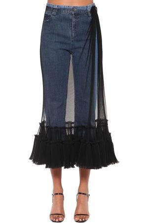 ACT N°1 Tulle Embellished Crop Denim Jeans