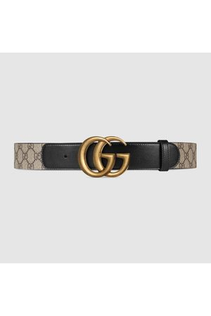 Gucci Herren Gürtel - GG Ledergürtel mit Doppel G Schnalle