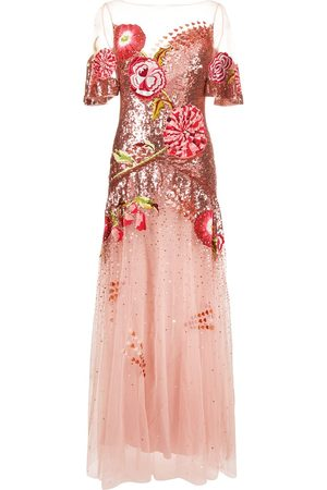 TEMPERLEY LONDON Floral-embroidered sequin tulle gown