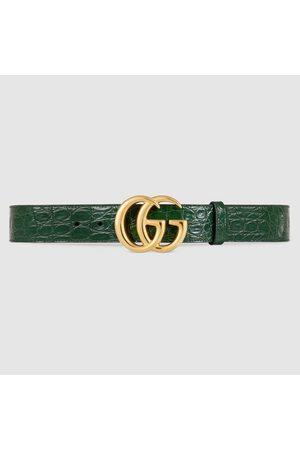 Gucci Herren Gürtel - GG Marmont Gürtel aus Krokodilleder mit glänzender Schnalle