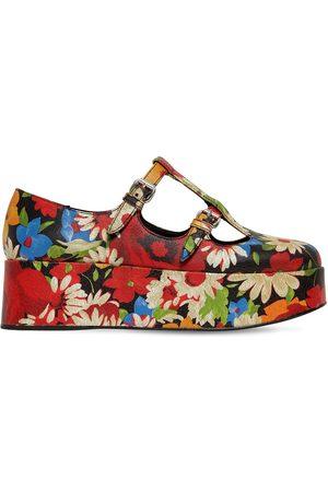Miu Miu 50mm Hohe Wedge-sandalen Aus Knitterleder