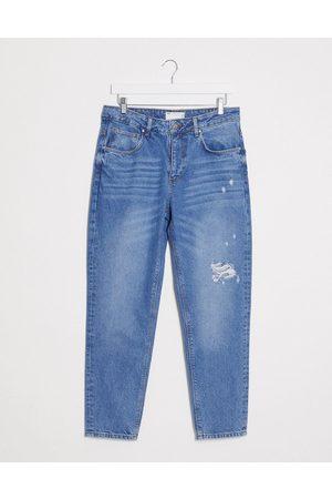 ASOS DESIGN Herren Slim - Classic rigid jeans in mid wash with rips