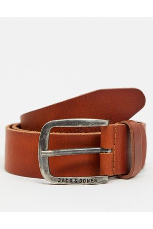 Jack & Jones Smooth leather belt with logo buckle in