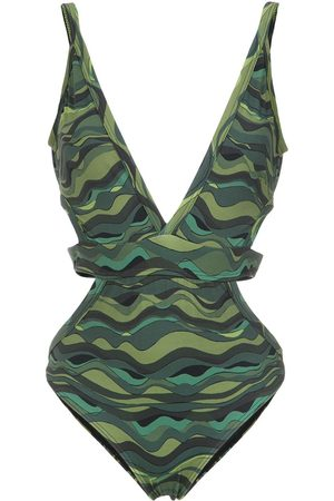 AMIR SLAMA Wave print swimsuit