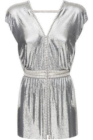 Paco rabanne Damen Kleider - Crystals & Metal Mesh Mini Dress