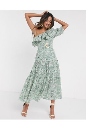 ASOS One shoulder broderie ruffle maxi dress with raffia belt in sage