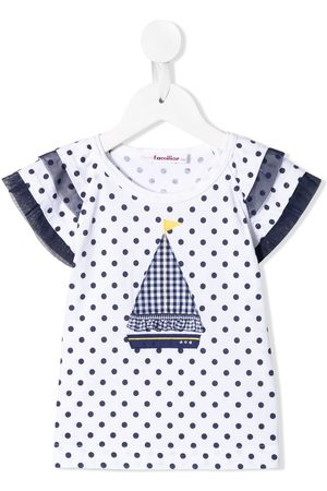 Familiar Polka dot wide-sleeves T-shirt