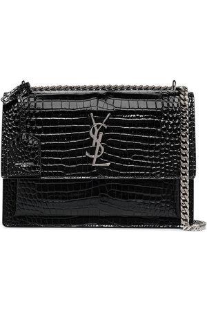 Saint Laurent Sunset mock croc leather shoulder bag