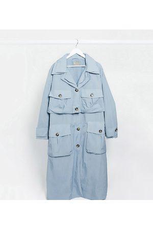 ASOS ASOS DESIGN Curve layered utility taffeta trench coat in baby