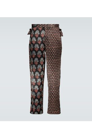 BODE Herren Stoffhosen - Bedruckte Hose aus Seide