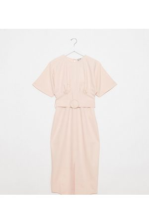 ASOS ASOS DESIGN Tall belted midi dress with underbust seams in blush