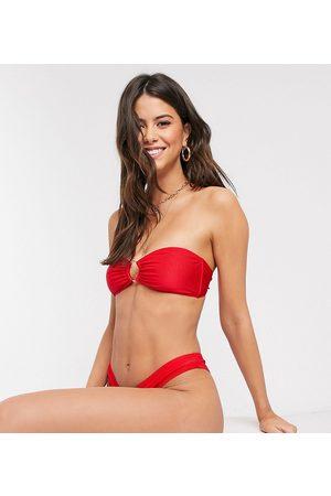 South Beach Exclusive mix and match rib bandeau bikini top in