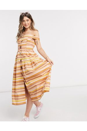ASOS Cotton poplin off shoulder midi sundress with mixed buttons in stripe