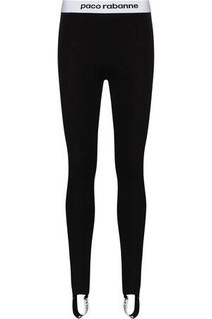 Paco rabanne Contrast logo-stripe stirrup leggings