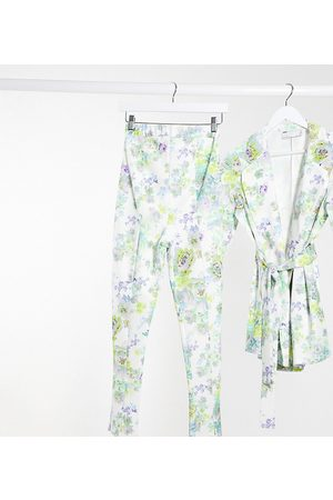 ASOS Maternity jersey over bump slim leg suit trousers in white floral