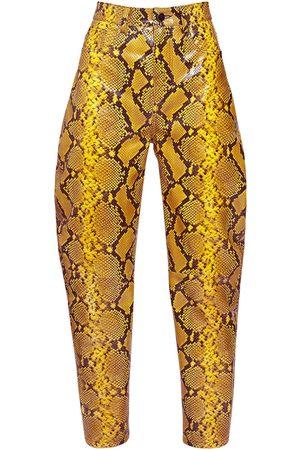 The Attico Damen Leder & Lederimitathosen - Python Print Leather Slouchy Pants