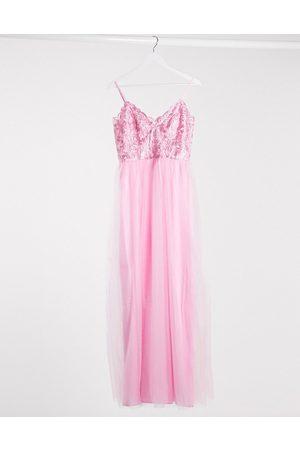 Chi Chi London Damen Lange Kleider - Plunge maxi dress in rose