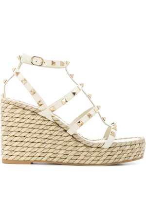 VALENTINO GARAVANI Rockstud rope wedge sandals