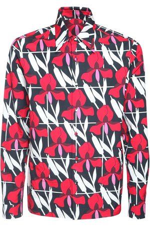 Prada Baumwollhemd Mit Geometrischem Blumendruck