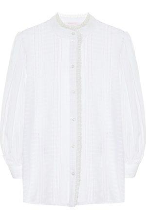 See by Chloé Damen Lange Ärmel - Bluse aus Baumwoll-Voile