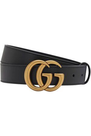 Gucci 30mm Breiter Ledergürtel Mit Gg-schnalle