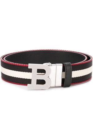 Bally Striped logo-buckle belt