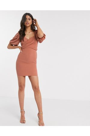 ASOS Wrap front mini dress with puff sleeves in rust