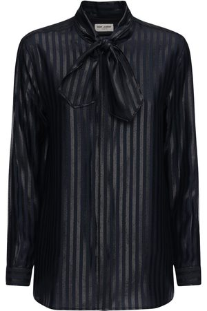 Saint Laurent Sheer Silk Lurex Stripe Fil Coupé Shirt