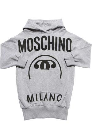 Moschino Damen Freizeitkleider - Logo Print Cotton Sweat Dress Hoodie