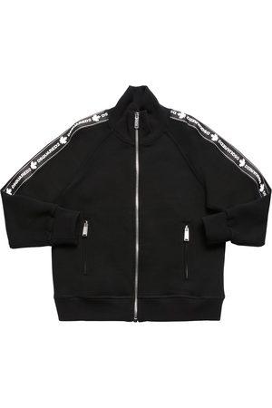Dsquared2 Sweatshirt Aus Baumwolle Mit Zip Und Logostreifen