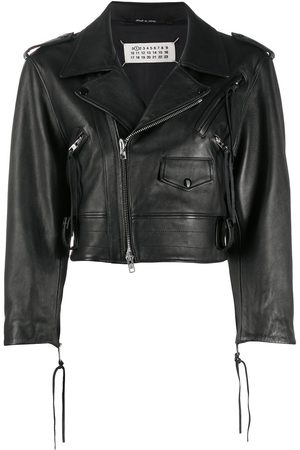 Maison Margiela Cropped leather biker jacket