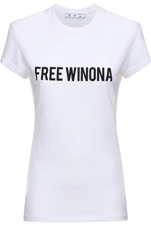 """OFF-WHITE Baumwolljersey-t-shirt """"free Winona"""""""