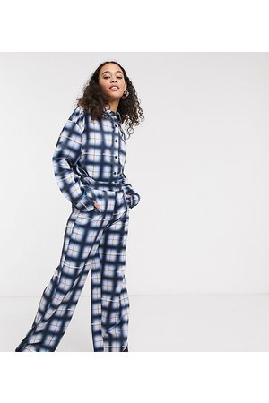 COLLUSION Wide leg trousers in grid check
