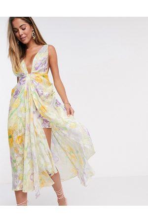 ASOS Cami plunge midi dress in burnout floral bloom print
