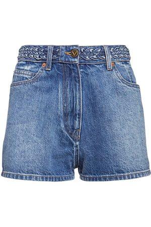 VALENTINO Damen Shorts - Shorts Aus Baumwolldenim Mit Logo