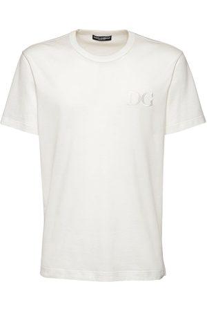 Dolce & Gabbana T-shirt Aus Baumwolle Mit Logostickerei