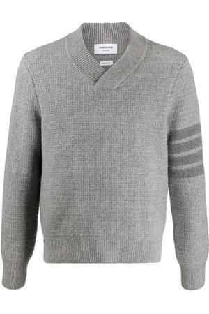 Thom Browne Herren Strickpullover - Tonal 4-Bar shawl pullover