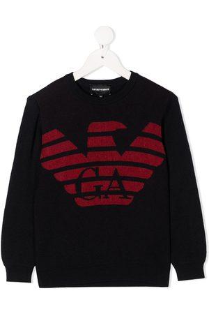 Emporio Armani Logo intarsia rib-trimmed jumper