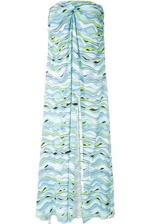 AMIR SLAMA Damen Bedruckte Kleider - Wave-print strapless dress