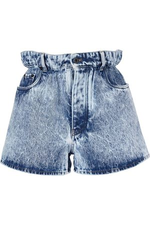 Miu Miu High Waist Washed Cotton Denim Shorts