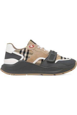 Burberry 30mm Hohe Sneakers Aus Leder Und Karostoff
