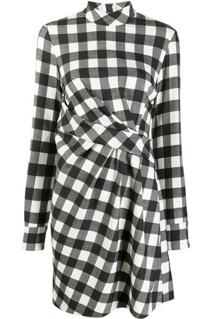 Msgm Front-pleat checked dress