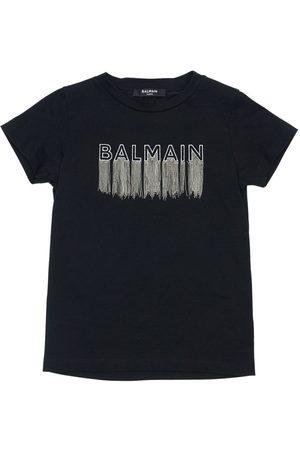 Balmain T-shirt Aus Baumwolljersey Mit Gesticktem Logo
