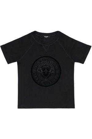 Balmain T-shirt Aus Baumwolljersey Mit Beflocktem Logo