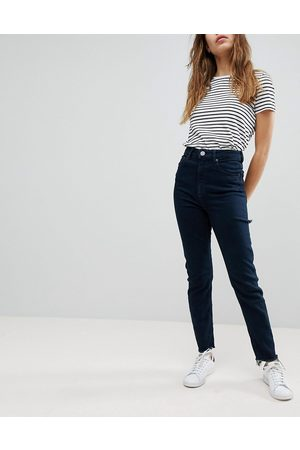 ASOS High rise farleigh 'slim' mom jeans in akila blackend wash with bum rips