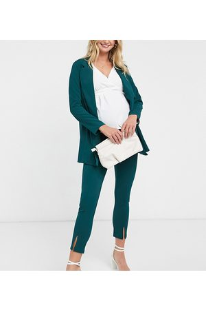 ASOS ASOS DESIGN Maternity jersey over bump slim suit trousers in forest